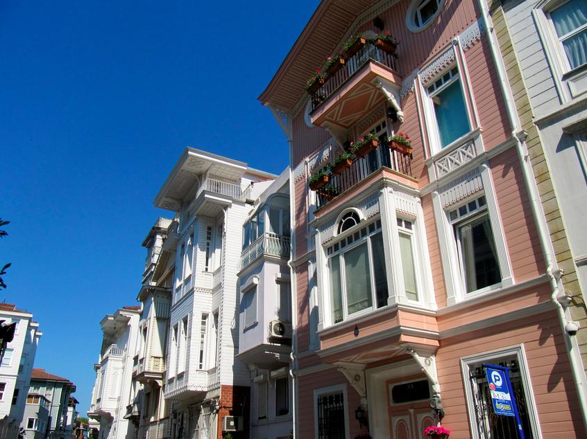 Colorful Arnavutköy yalı houses (Ottoman period water front mansions)