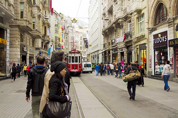 One of the most enjoyable ways to see the street is to ride the charming red Nostaljik Tramvay