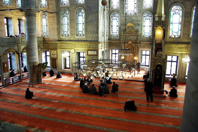 Interior of Eyup Sultan Mosque which is one of the most holy and important mosques of Istanbul.
