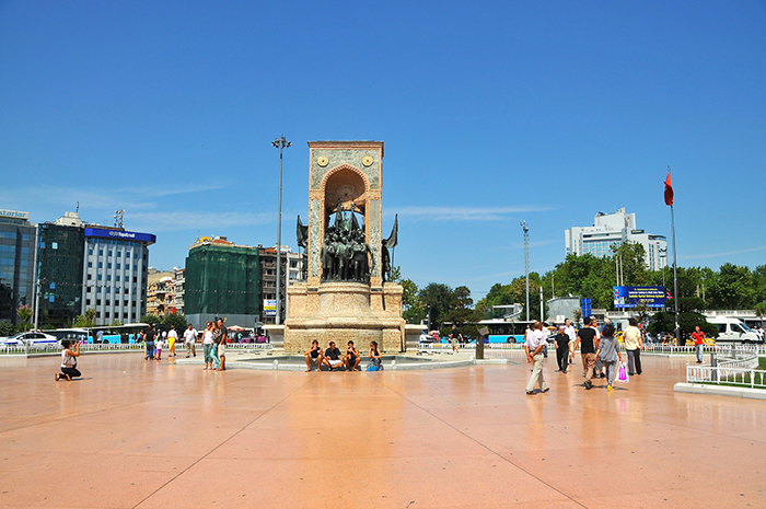 Taksim is the city centre of Istanbul and there is a statue of founders of Turkish Republic including Mustafa Kemal