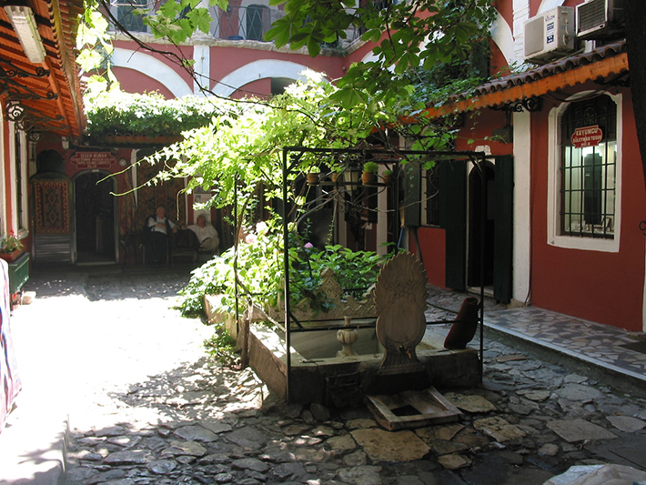 Courtyard of Zincirli Han, one of the old caravanserais of the famous Grand Bazaar of Istanbul